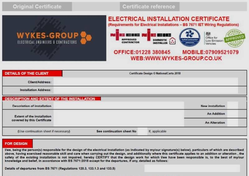 Commercial and Industrial Electrical Installation Certificates in Carlisle, Cumbria