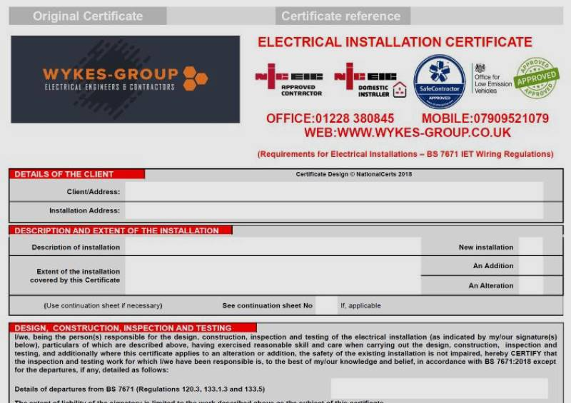 Domestic Electrical Installation Certificate in Carlisle, Cumbria