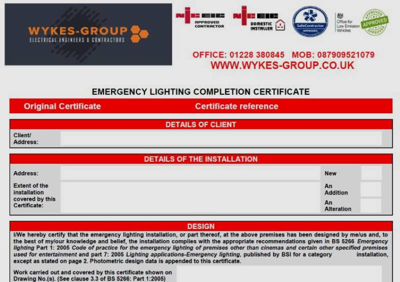 Emergency Lighting Certificates in Carlisle, Cumbria
