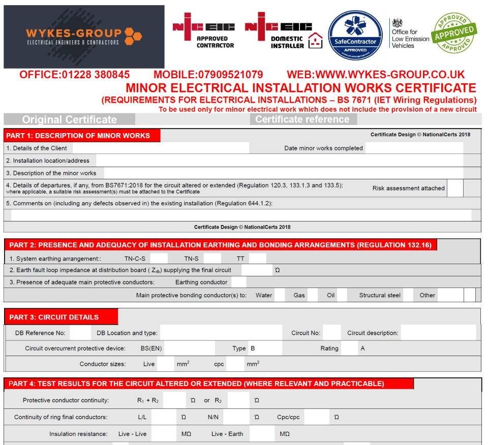 Minor Works Certificates in Carlisle, Cumbria